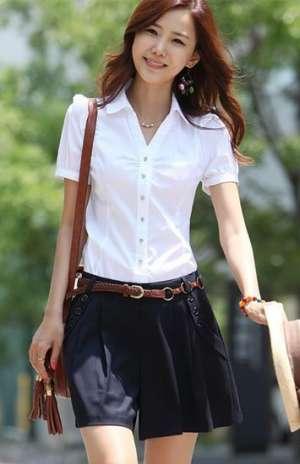 V领褶皱女衬衫