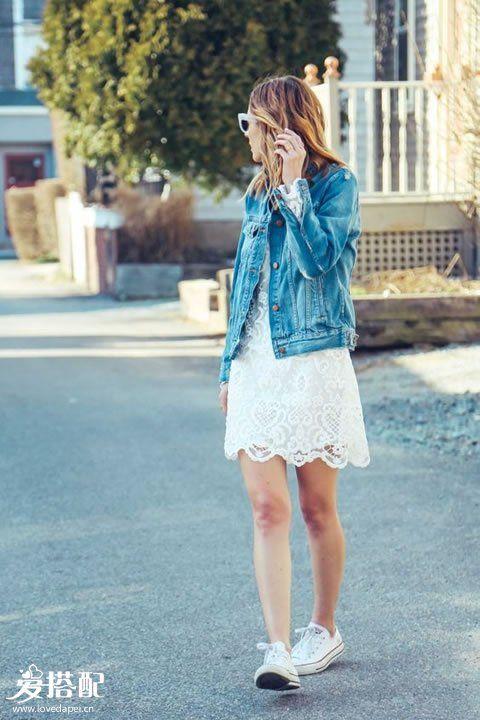蕾丝裙+球鞋
