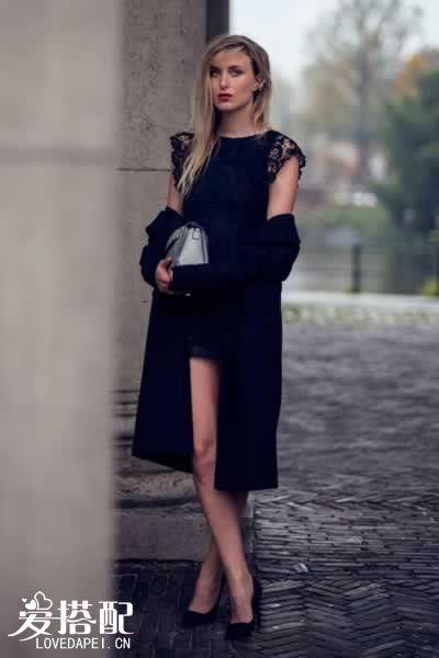 蕾丝小黑裙+黑色外套大衣+黑色轻软高跟鞋