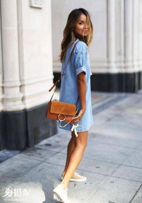 衬衫裙+球鞋
